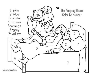 napping house color by number